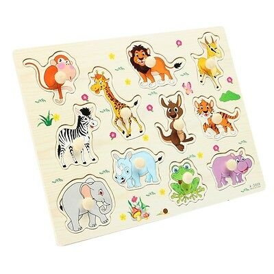 Kids Baby Child Animals Wooden Learning Intellectual Educational Puzzle Toys Set