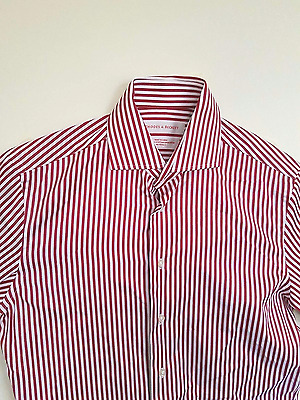Rhodes and Beckett Red & White Striped Business/Formal Shirt (Large)