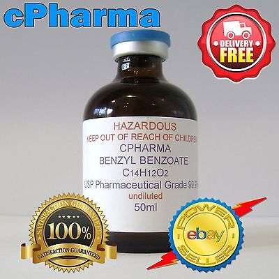 99.9% PHARMACEUTICAL GRADE BENZYL BENZOATE USP 150ml (UNDILUTED)