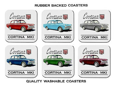 1962 - 1966  Ford Cortina  Mk1  Gt   Set Of 6   Quality Rubber Drink  Coasters