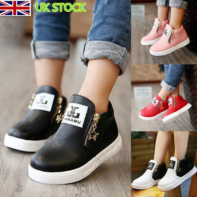 Kid Girls PU Trainers Zipper Stars  Ankle Boots Sport Sneaker Martin Boot Shoes
