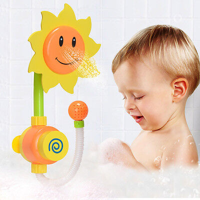 Sunflower Bath Toys Water Faucet Taps Spout Spray Shower Water Play Kid Baby