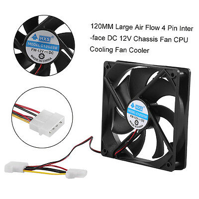 120MM Large Air Flow 4Pin Interface DC 12V Chassis Fan CPU Cooling Fan Cooler AJ