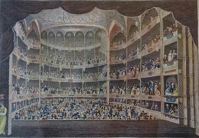 """Drury Lane Theatre from the Stage during the performance"" Kol. Kupferstich 1804"