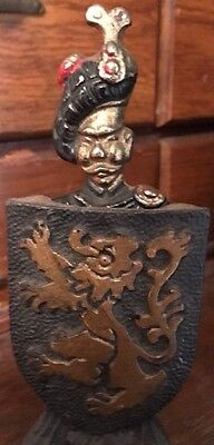 Vintage 1950's SCOTTISH SOLDIER With LION RAMPANT SHIELD STAND Bottle Opener