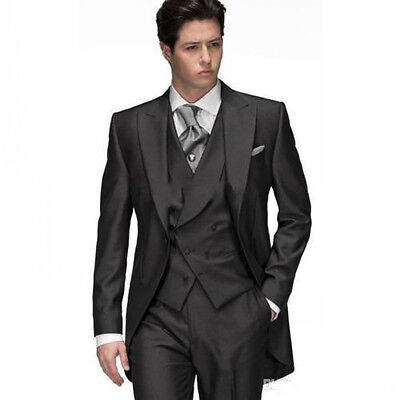 2017 New Custom 3 Piece Sim Fit Black Best Man Groomsman Men's Wedding/Prom Suit