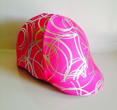 Horse Helmet Cover Pink With Silver Circles Lycra AUSTRALIAN  MADE