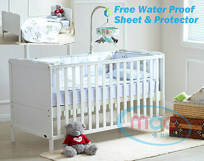 """MCC® Wooden Baby CotBed  """"Florida"""" & Water repellent Mattress"""