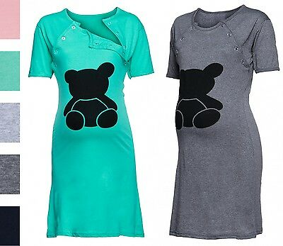Happy Mama. Women's Maternity Nursing Breastfeeding Nightdress Bear Print. 984p