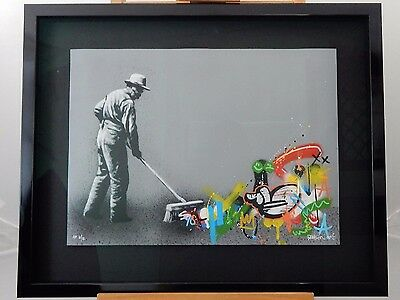 "MARTIN WHATSON - SWEEPER ""Framed Rare Signed Graffiti Print +Free banksy Photo"
