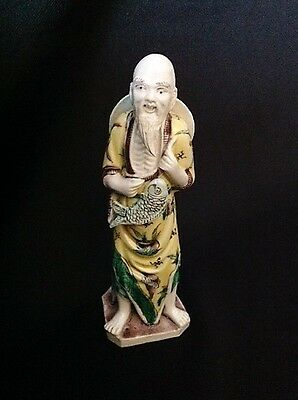 Antique Chinese Famille Verte Biscuit Porcelain Man Figure Figurine Statue