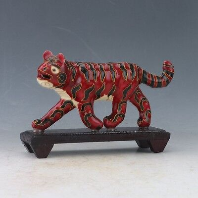 Chinese Cloisonne Handwork Carved Tiger Statue PY0014