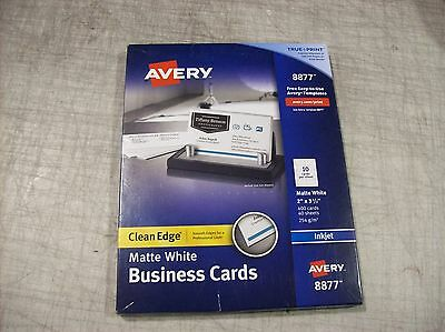 """Avery 8877 White Matte Clean Edge Business Cards 2"""" x 3.5"""" 400 Count Free Ship"""