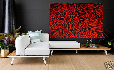 Large Red Color Fish Dreaming Aboriginal Oil Fine Art Painting canvas By Jane