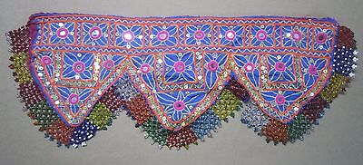 VINTAGE Authentic Banjara TRIBAL Textile PATCH Wall Hanging BEAD TASSELS 565