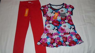 NEW Girls Size 5-6 Gymboree Outfit Red Leggings & Floral Peplum Tunic Shirt NWT
