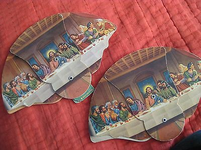 Lot Of 2 Vintage Advertising Tri-Fold Mortuary Hand Fan Last Supper San Diego &