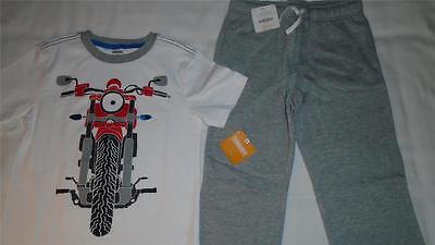 NEW Boys Size 7-8 Gymboree Outfit Motorcycle Shirt & Gray Sweatpants NWT