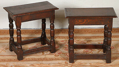 Pair Of Charming Antique English Oak Joint Stools ~ Solid Wood ~ Retail $3,000