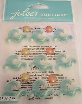 JOLEE'S BOUTIQUE WAVES REPEAT Beach Shells Scrapbook Craft Sticker Embellishment