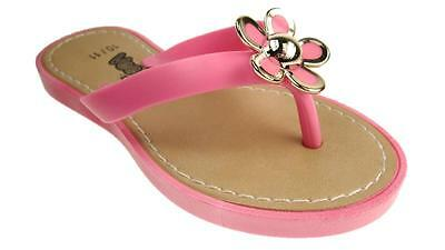 Girls Jelly Toe Post Flower Detail Summer Sandals 4 Colors Size 10- 4