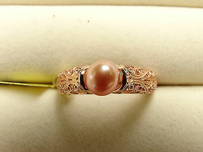 Pretty Peach Freshwater Pearl Solitaire 14K Rose Gold/925 Ring Size P-Q/8