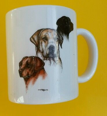 1995 Laura Rogers Yellow Labrador Black Dogs Mug Cup Artist Signed made in USA
