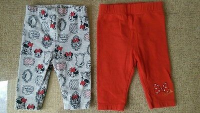 George Disney Minnie Mouse Leggings x2 0-3mth red/grey