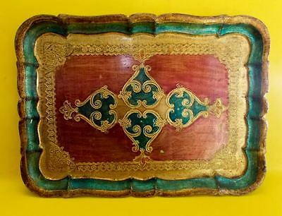 Vintage Italian Florentia Red Green & Gold Gilt Wood Serving Tray