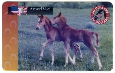 $20. Two Colts (Young Horses) On A Green Pasture USED Phone Card