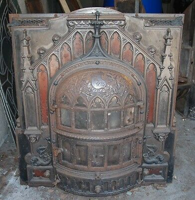 Antique Cast Iron Fire Place Fireplace Stove Chimney Surround