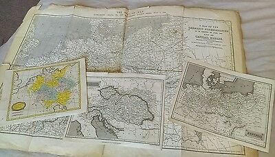 FOUR 19thc. MAPS of GERMANY, AUSTRIA and PRUSSIA, inc. LARGE 1866 WAR WALL MAP.