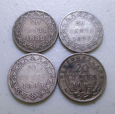 1882H, 1894, 1899, 1912 Newfoundland Silver 20 Cents - Lot SF10
