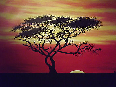 Minimal African Sunset Tree Large Oil Painting Canvas Original Yellow Red Black