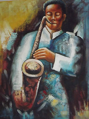 abstract saxophone musician large oil painting canvas modern original jazz art