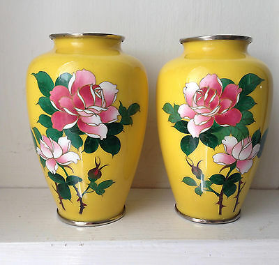 PAIR Vintage Sato Japanese Yellow with Pink Roses Cloisonne Vases - 5""