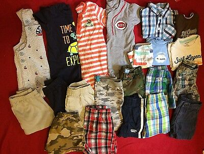 Baby Boys Clothes shorts Rompers Sz 6/9 Months Lot Of 19 Oshkosh Carters