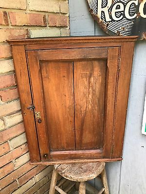 "Antique Corner Cabinet 1890s Wood Wall Hanging Cupboard 28"" Primitive Old"