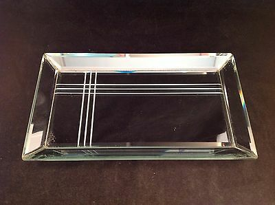 "Dresser Top Etched Vanity Mirror Dish Tray 10-3/4"" x 6-1/4"""