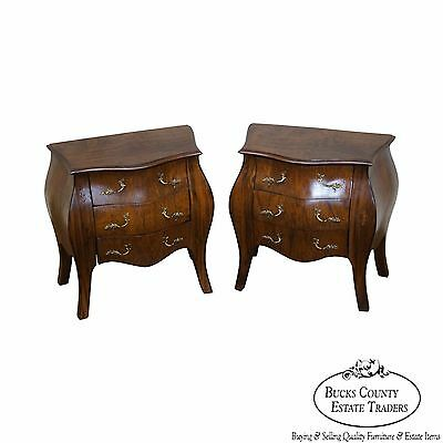 Diminutive Pair of French Louis XV Style Walnut Bombe Commodes Chests
