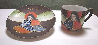 Japanese Cup & Saucer Satsuma Style with Moriage Raised Hand Painted Design