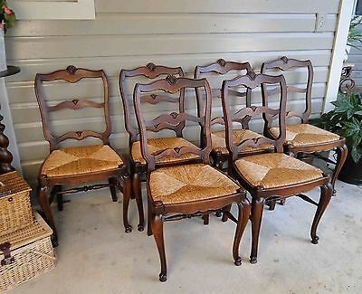 Antique French Dining Chairs Rush Seats Shells Tall Back Stretchers Cabriole leg