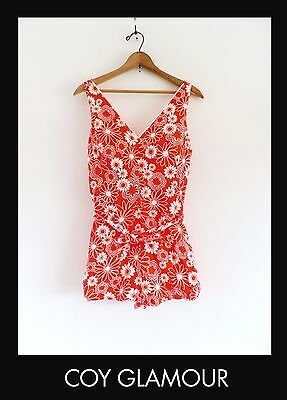 Vtg 60s 70s Daisy Print Flower Power MOD Gogo Pinup Retro One Piece Swimsuit M