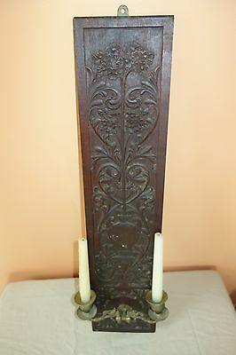 Antique Ornate Carved Wood 2 Candle Wall Sconce Black Forest Quality