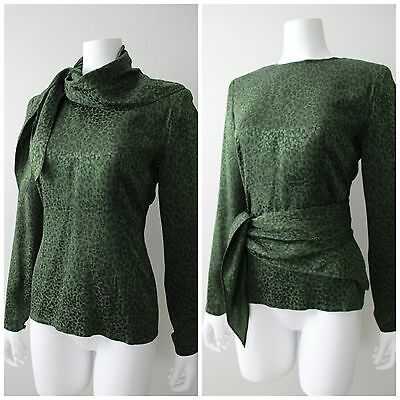 Vtg 90s Dark Green Silk CARLISLE 3 Way Secretary Blouse Top 8