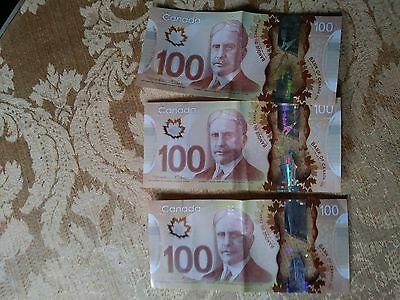 Canadian 3 $100 Dollars Bank Note $300 dollars