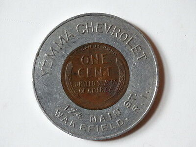 1948 D YEMMA Chevrolet Wakefield, RI Encased Coin Penny Cent Chevy Dealer SA