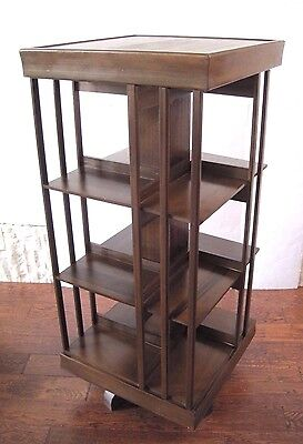 Vintage Antique Wood Revolving Rotating Bookcase Book Case Bookshelf Shelf MCM