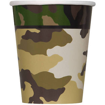 8 - 9oz Military Camo Paper Birthday Party Cups Camouflage