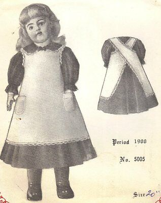 "19-20"" Period DOLL DRESS sewing PATTERN Victorian German French vintage look"